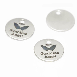 Stainless Steel Disc Charms Australia - 10pcs lot Guardian Angel charm Polished Inspirational Stainless steel disc message Charm pendant 20mm