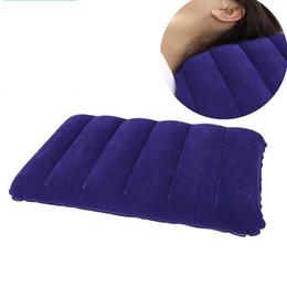 Großhandel Blau Camping Kissen Occipital Mehrzweckkissen Keine Luftleckage Aufblasbare Nap Beflockung Kissen Dichtkante Heißer Verkauf 2 6mz ii