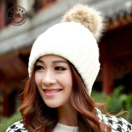 Discount balaclava knitting - 2015 Real Rushed Hats Gorros Balaclava Pure Color Imitation Rabbit Earmuffs Young Ladies Love Candy Soft Knitted Hat [ge