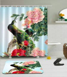 3d bathroom shower curtains Canada - Beautiful 3D Peacock Shower Curtains Polyester Waterproof Bathroom Shower Curtain Bath Curtain with Hooks Floor Mats sets