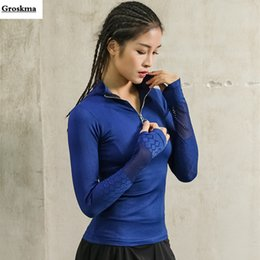 d85192ad810 Zipper women long sleeve yoga shirt quick dry breathable sportswear clothes  top womens fitness gym mesh tee shirt deporte mujer