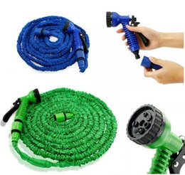 Wholesale 100FT Expandable Flexible Garden Magic Water Hose With Spray Nozzle Head Blue Green with retail box