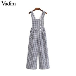 22979e07c26d Vadim women vintage plaid jumpsuits buttons pockets rompers female casual  chic streetwear overalls suspender trousers KZ1248Y1882301
