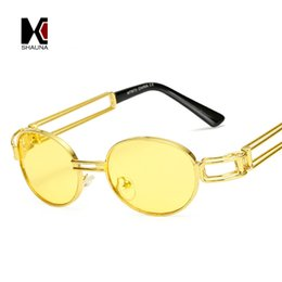 388759a977 SHAUNA Fashion Small Oval Women Blue Mirror Punk Sunglasses Retro Men Red  Tinted Lens Glasses