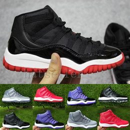Bred XI 11S Kids Basketball Shoes Gym Red Infant   Children toddler Gamma  Blue Concord 11 trainers boy girl sneakers Space Jam Eur28-35 43584c584