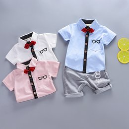 toddler boy 4t Australia - Kids Baby Boys Clothes Clothing Sets Summer Infant Boy Short Sleeve Shirt + Pants Outfits Suits Toddler Child Bow Tie Outfit Tracksuits