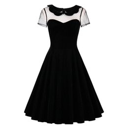 $enCountryForm.capitalKeyWord UK - 2017 Summer Female Party Dress Solid Black Dresses Sexy Hollow Out Vintage Gothic Dress Summer Peter Pan Collar Dresses