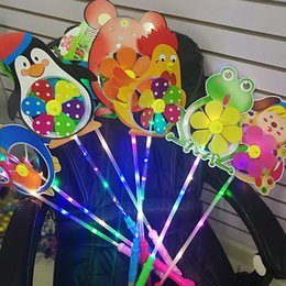 Discount flashing windmill toys - Cartoon LED Flash Windmill Colorful Flashing Light Animals Windmill For Kids Party Festival Toys Gifts Free DHL A873