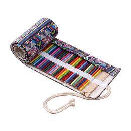 Cases rolling penCils online shopping - 36 Holes Pencil Case School Canvas Roll Pouch Comestic Makeup Brush Case Pen Storage
