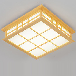 Ceiling Lights & Fans Bright Japanese Style Delicate Crafts Wooden Frame Ceiling Light Led Ceiling Lights Luminarias Para Sala Dimming Led Ceiling Lamp