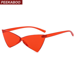 7dd6162682 Peekaboo red one piece sunglasses women triangle 2019 transparent cat eye  sun glasses butterfly party uv400 candy color