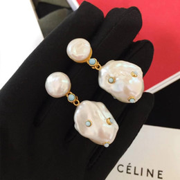 Turquoise chandelier earrings online shopping - Top quality brass excellent drop earrings in cultured pearls with nature turquoise k real gold plated jewelry gift PS6651A