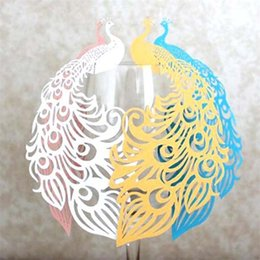 Laser cut birthday cards online shopping - Peacock Wine Glass Cup Card Laser Cut Hollow Pearlescent Paper Pink Seat Cards Wedding Happy Birthday Party Christmas Decorations dd bb