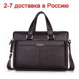 marca genuine leather NZ - Large Capacity Men Briefcase Laptop Shoulder Bags,Black Brown Genuine Leather Handbag Messenger Bags Bolsas De Marca Bolso Mano