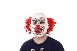 China Halloween Scary Clown Costumes Mask With Red Hairs Adult Latex Masks Men's Mask Scary Red-Eyed Clown Pennywise supplier scary adult clown costumes suppliers