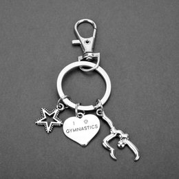 $enCountryForm.capitalKeyWord Australia - 1pc New Fashion Jewelry I Love Gymnastics Key Chain Heart Gymnast Star Pendant Keychain Keyring Creative Gifts For Women