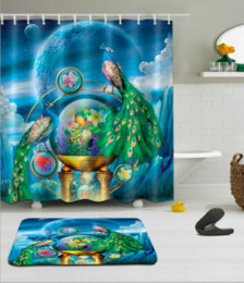 3d bathroom shower curtains Canada - 3D Digital Printing Peacock Shower Curtains Polyester Waterproof Bathroom Shower Curtain Bath Curtain with Hooks Floor Mats sets