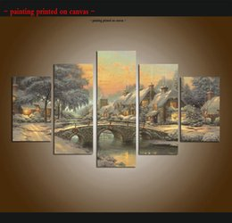 $enCountryForm.capitalKeyWord Canada - Large 5 Piece Thomas Kinkade Landscape Oil Painting Reproduction Giclee Print Canvas Modern Art wall for living room Home Decor Ttms010