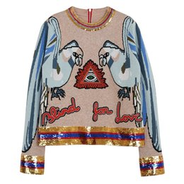 Chinese  women female camel sweater high end Parrot embroidery letter sequins back zipper wool kniting pullover ladies jumper top manufacturers