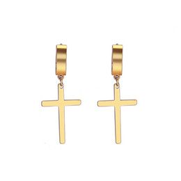 Cross ear men online shopping - whole saleCross earrings man woman fashion earring cross pendant ear piercing jewelry pair
