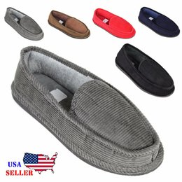 mens bedroom shoes. New Mens House Slippers Corduroy Moccasin Slip on Men Shoes Male Size 5 14 Online  for Sale