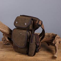 motorcycle shoulder canvas bags 2020 - Men Canvas Waist Thigh Drop Leg Bag Travel Motorcycle Riding Fanny Pack Hip Bum Belt Bags Crossbody Shoulder Bags For Ma