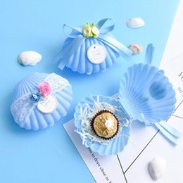 Wholesale Boxes Packaging Australia - New Blue Shell Shaped Box with Lace and Flower Wedding Party Favor Boxes Plastic Solid Candy Package Gift Boxes 2018 Hot Selling