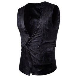 unique vests NZ - New Fashion Brand Men's Embroidery Embossing Vests Unique Design Solid Color V-neck Casual Slim Fit Men Vests Dropship