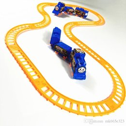 ElEctric rail train toys online shopping - Spider Man Train Track Electric Set Baby boy girl Educational Toy Splicing Rail Train Gift Kids Boys Toys Scale Models