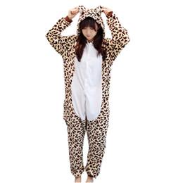 cb6f679cd8 flannel lovers autumn and winter cute cartoon piece pajamas couple men and women  leopard bear performance clothing animal pajamas