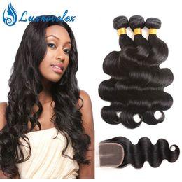 Human Weaving Hair Sale Bundles Australia - Body Wave 3 Bundles With Closure 8A Grade Brazilian Virgin Hair Human Hair Bundles With Closure Hair Extensions Natural Color Hot Sale