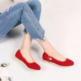 Chinese casual style comfortable round head nubuck button fashion slip-on  red black apricot flat with women shoes big size f15b3c47ed69