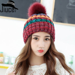Knitted Hair Hat NZ - Hats The new style of autumn and winter Double top knitted cap Lady's Korean ear care hair ball hat beanie winter women