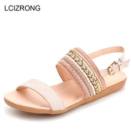 $enCountryForm.capitalKeyWord Canada - LCIZRONG Fashion Rhinestone Women Sandals Summer Peep Toe Flat Sandals for Woman Bohemia 36-42 Big Size Beach Shoes