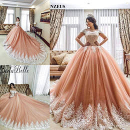 Discount quinceanera gold brown ruffle embroidery - Modest Off the Shoulder Ball Gowns Quinceanera Dresses Lace Appliques 2018 Tiers Tulle Court Train 16 Girl Evening Party