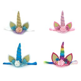 8ec4de1d543 Unicorn Headband Birthday Party Headwear Shiny Unicorn Horn Glitter Elastic Headbands  Spiral Unicorn Horn Cosplay Hair accessories kids Gift