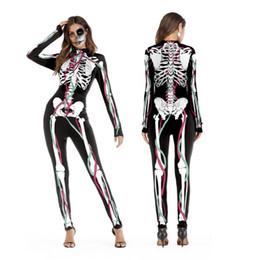 Toptan satış 2018 Yeni Cadılar Bayramı Cosplay Kadınlar için Suits İnsan İskeleti Desen Kostümleri Cadılar Bayramı Partisi Daracık Baskılı Uzun Kollu Bodysuit