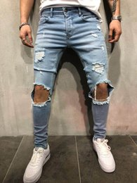 man style slim long pants 2019 - New Mens Ripped Holes Jeans Straight Slim Elastic Denim Skinny Jean Black Blue Jeans Male Long Trousers Jeans Pants chea