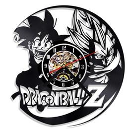 Großhandel 1 Stück Cartoon Dragon Ball Z Goku Vegeta Vinyl LP Rekord Wanduhr Kreative Hängende Dekorative Uhren Kinder Geschenk
