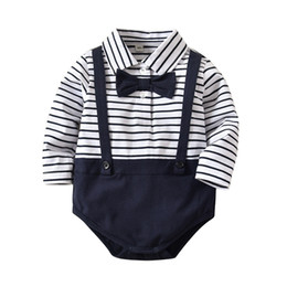 85c5448425f INS baby Clothing romper girl boy gentleman stripped boy romper girl Lolita romper  spring fall baby clothes