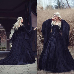 $enCountryForm.capitalKeyWord NZ - Vintage Gothic Wedding Dresses 2019 High Quality Black Full Lace Long Sleeved Medieval Bridal Gowns Lace-up Back with Train