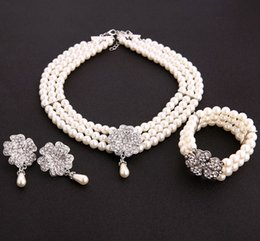 China earrings for women 2018 Elegant Pearl Bridal Jewelry Sets Silver Color Crystal Necklaces Earrings Sets Wedding Jewelry supplier elegant pearl set bangles suppliers
