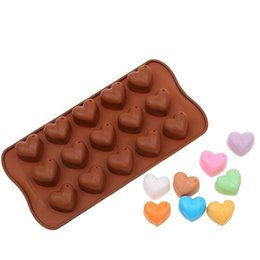 Silicone heart Shaped chocolate mould online shopping - Heart Shape Chocolate Mould DIY Silicone Candy Pudding Sugar Cake Baking Mold Kitchen Tools Pure Color hm bb