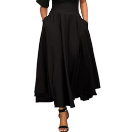 Discount l swing - Women Swing A-line Skirts Solid Elastic High Waist Lace up Bow Elegant Skirts Autumn Sumemr Vintage Retro Skirt Side Spl