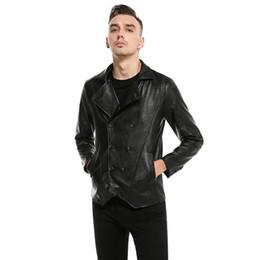22017 Men Black Fashion New Herbst schlanke Lederjacke Metrosexual Männer Mantel Motorrad Biker Jacke Marke Z30