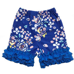 $enCountryForm.capitalKeyWord NZ - Summer Girls Short Pant Blue Floral Print Ruffle Baby Girls Wear Triple Icing Ruffle Shorts Birthday Baby Kids Clothes Outfit