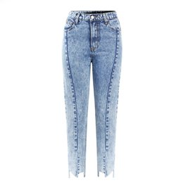 642e3eb804 New High Waist Mom Jeans With Irregular Opening Woman Boyfriend Acid Wash  Cropped Denim Pants For Women Jeans