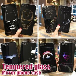 Wholesale For iPhone X Tempered Glass Cover Mirror Silicone Protection Marble Case For iphone Plus Superman iron Man Case