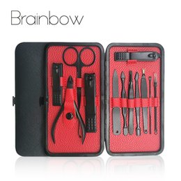 Chinese  Brainbow 12in1 Nail Manicure Tools Set Kit for Face Nail Toe File Cuticle Pusher Makeup Scissor Clipper Pedicure Sets manufacturers