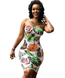 3b20126a2d172 Knee Length African Prints Dresses UK - Off Shoulder African Print Dresses  Sexy Strapless Sleeveless Backless